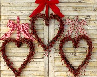 Red Valentine Wreath - Valentine Gift  - Wedding Wreath - Red Heart Wreath