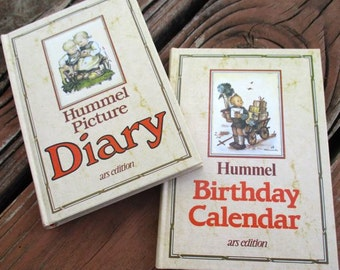 Hummel diary notebook journal and Birthday calendar books unused set of 2 Vintage West Germany 1984 illustrated pictures gift children art