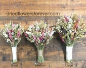 Pink Vintage Dried Wildflower Bouquet - Wedding Bridal Bouquets - protea wheat herbs rustic woodland - VINTAGE WILDFLOWER COLLECTION