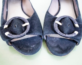 """REDUCED PRICE Vintage 1980s """"Circa Joan & David"""" Black Suede Peep Toe Flats with Buckle Detail"""