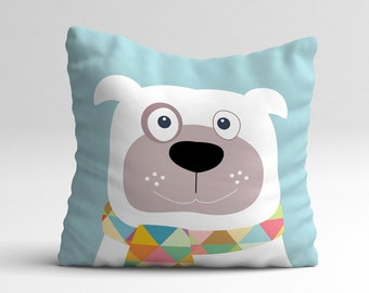 Dog with geometric scarf, kids throw pillow, kids pillows, kids decor, children bedroom, decorative pillow, kids cushions, cushion cover