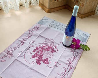 Luxurious Jacquard Wine In Vino Veritas Kitchen Dish Tea Towel 100% Cotton Burgandy Grapes Made in Europe