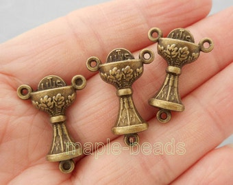 4pcs- 3D connector-3 loop connector-Antique brass metal Charm earring connector, pendant connector-ALK 5909