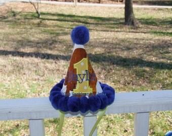 Brown Bear Applique Number Blue Pom Pom Birthday Hat