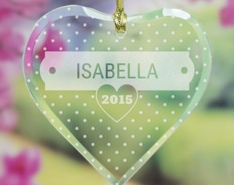 Personalized Engraved Polka Dots Heart Ornament, christmas ornament, glass ornament, custom ornament, personalized, christmas -gfy898704H