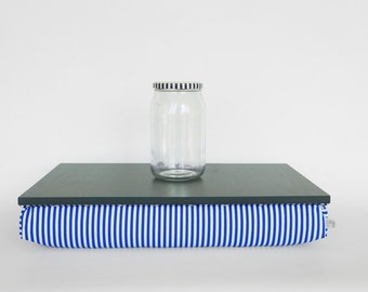 Decorative tray with pillow, laptop stand, bed tray- dark olive green with blue and white striped Pillow