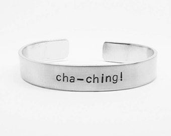 cha-ching: hand stamped aluminum cuff bracelet for Etsy-sellers, crafters and creatives