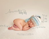 Stocking Hat Newborn Photo Props Sleepy Cap Shower Gift Heirloom Knit Baby Hat Blue Cream Sand Sea Mist Alpaca Baby Clothing