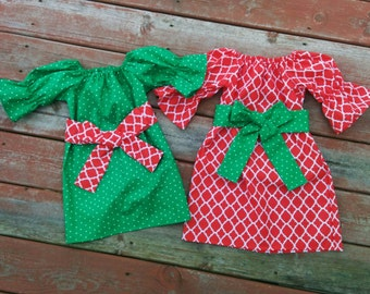 Girls Christmas Holiday Dress Red Lattice or Green Dot with Sash 6 12 18 24 2T 3T 4T 5/6 7/8 9/10 11/12 Sibling Sister Cousin Set