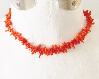 Vintage Orange Coral Necklace Choker Mid Century size small