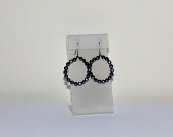 Hematite Earrings, Beaded Hoop Earrings, Hip Hop Earrings, Small Hoop Earrings, Gray Earrings, Handmade Earrings