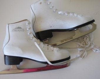 Vintage White Leather Womens Lake Placid Ice Skates - Christmas Decor - size 7