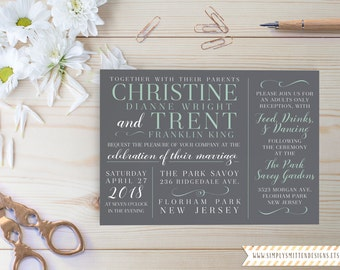 Hampton Square Collection DIY Printable OR Printed Wedding Invitations