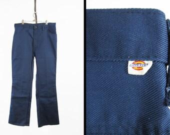 Vintage Dickies Work Pants Blue Twill Workwear Men's Trousers - Size 38 x 32