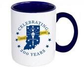 Indiana Bicentennial Coffee Mug, Hoosier Pride Ceramic Mug, Indiana Flag Design