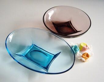 Vintage Capri Turquoise Dish, Moroccan Amythst Bowl, Hazel Atlas, Depression Glass, Set of 2, Mid Century Glass