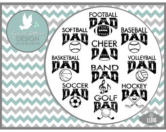 Sports Dad Baseball Cheer Volleyball Golf LL016 - Vector - Cutting File - Includes ai, eps, svg, dxf (for Silhouette users), png, jpg