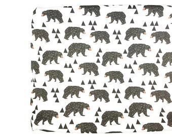 Changing Pad Cover Geometric Bear on Cream- Bear Changing Pad- Geometric Changing Pad- Woodland Changing Pad- Minky Changing Pad- Organic