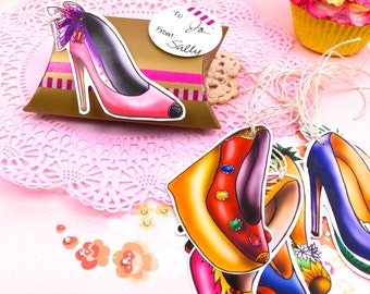 Large Stiletto Heels Gift Tag Set - Diva Party Gift Embellishments - Funky Shoe Gift Tags.  Scrapbooking Novelty Gift Tags. Party Labels