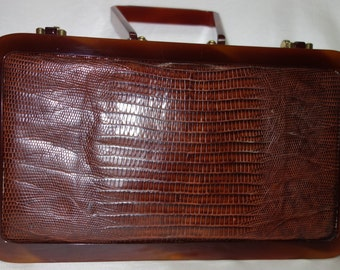 Vintage RENDL Original Lucite and Tegu Lizard Box Purse