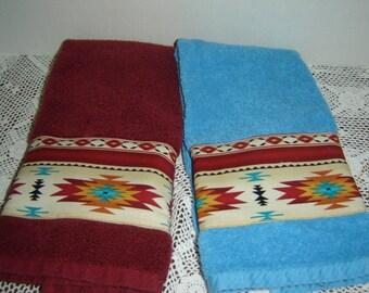 Burgundy or aqua hand/dish towel w/panel of Marsala wine Aztec design Southwest decor fabric, Navajo tribal, 100% cotton terry, hostess gift