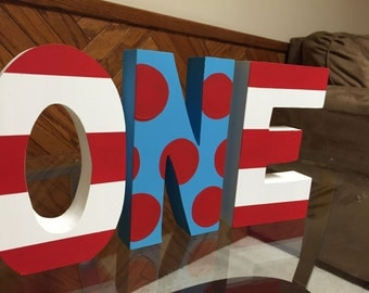 Turquoise - Red - Chunky - Freestanding Photo Prop - Birthday Party - 1st Birthday