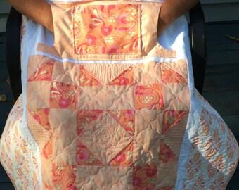 Peachy Cream Lovie Lap Quilt with Pockets