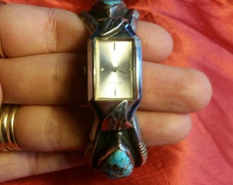 Gorgeous old pawn Navajo sterling silver and turquoise bracelet watch!