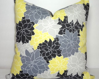 OUTDOOR Pillow Cover Bright Colorful Black Grey Yellow Floral Indoor/Outdoor Pillow Cover 18x18