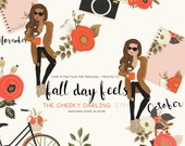 Fall Day Feels Autumn Floral Fashion Girl Clipart clip art  Floral Clipart Graphic   files Printed CU OK Stickers  png files