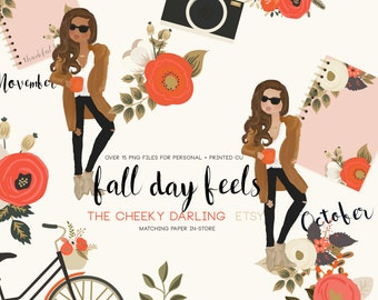 Fall Day Feels Autumn Floral Fashion Girl Clipart clip art Floral Clipart Graphic files ...