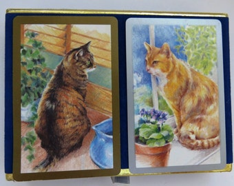 Cats Kittens Playing Cards by Congress - Full Double Deck Original Blue Velvet Box - Poker Bridge Games - Collectible - Gift