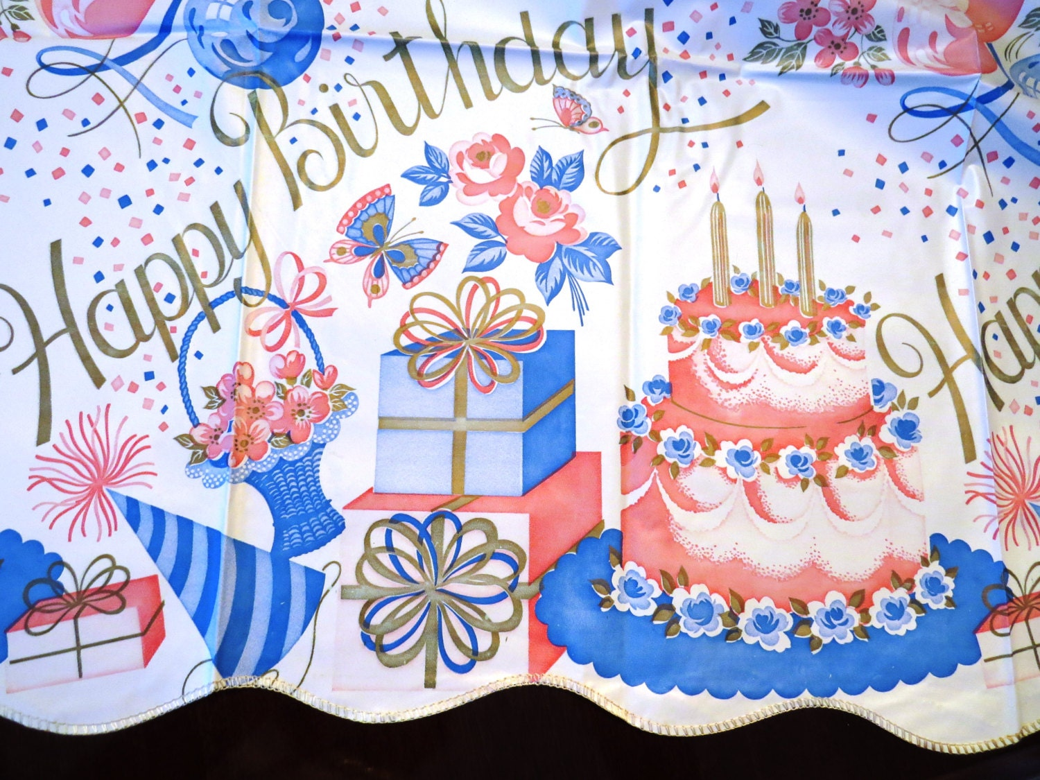 Vintage HAPPY BIRTHDAY Vinyl Tablecloth Large By