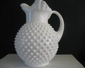 Vintage Fenton Hobnail Milk Glass Pitcher