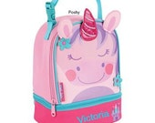 Personalized Girls Lunch Box Bag Stephen Joseph Lunch Pals in Unicorn