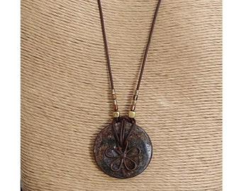 Round Bronzanite Pendant Necklace