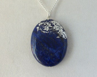 Silver Leaf Stone Pendant - Lapis Lazuli