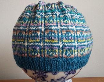 Handknitted Fairisle shetland hat,beanie,tam, beret, winter, skiing,fishing,camping,hiking,boating