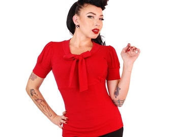 Puff Sleeve Bow Top  Red