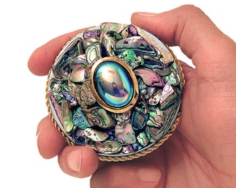 An Abalone Shell Jeweled Treasure Box • Limited Edition • A Special Order Item • Allow 1 to 2 Weeks For Delivery • Includes A Free Gift Too!