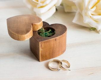 Heart Shaped Ring Box Wedding Ring Box Ring Bearer Box Rustic Ring Bearer Box Engagement Ring Box Personalized Ring Box Pillow Alternative