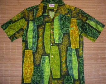 Mens Vintage 60s Barefoot TIKI TIKI Hawaiian Aloha Shirt - S - The Hana Shirt Co