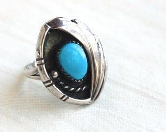 Turquoise Ring Native American Feather Size 6 .75 Vintage Southwestern Jewelry Signed Boho Ring