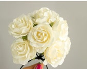 SALE 10% OFF 12 Paper Flowers / One Dozen IVORY Roses Artificial Flowers With Wire Stems / Bridal Bouquet / Flower Ball