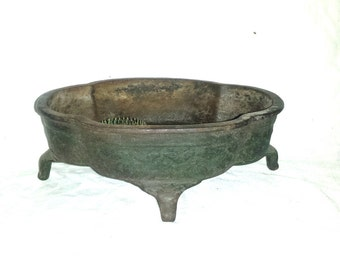 Antique Victorian Cast Iron Planter with Floral Frog