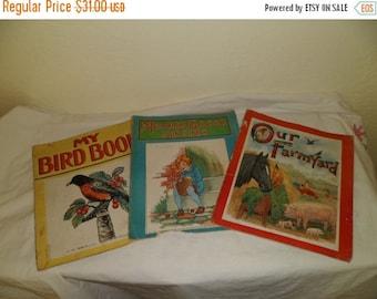 Valentine SALE Three 1923 Children's Large Picture Books Platt and Munk Co.