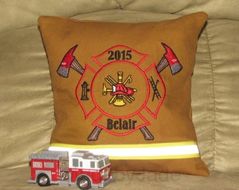 Maltese Cross Pillow with Last Name and Year Embroidered