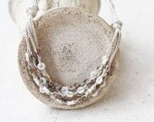 Beige and white layered necklace Multi strand Crochet jewelry Boho chic Beach wedding Bohemian style Gift for her