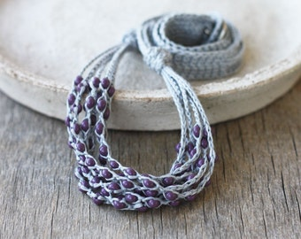 Grey purple necklace Layered beaded necklace Linen jewelry Multi strand necklace Boho chic Rustic