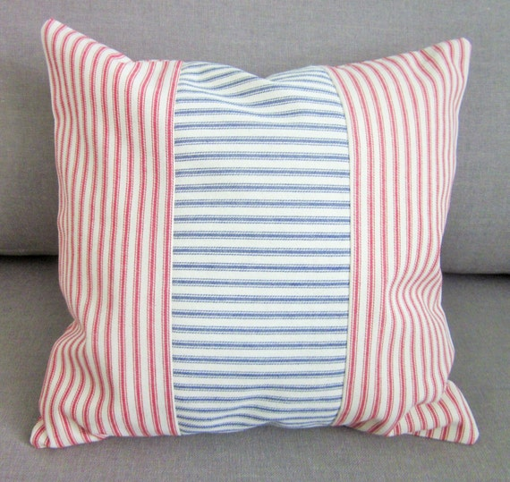 Red and Blue Ticking Pillow Cover Decorative Pillow Various